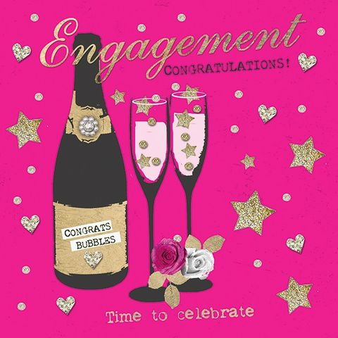 Pink,Champagne,Time,To,Celebrate,Engagement,Card,buy engagement card online, buy cards for engagement online, you are engaged card, congratulations on your engagement, champagne congratulations engagement cards, congrats on your engagement