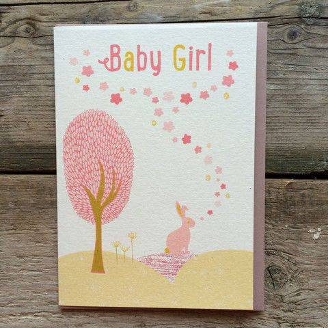 Bunny,Rabbit,Baby,Girl,New,Card,buy new baby cards online, buy new baby girl cards with bunny rabbit online, buy cards for new baby girls, new baby congratulations card, it's a girl new arrival card, pink bunny rabbit new baby cards, new baby cards with rabbits, baby cards with bunnies