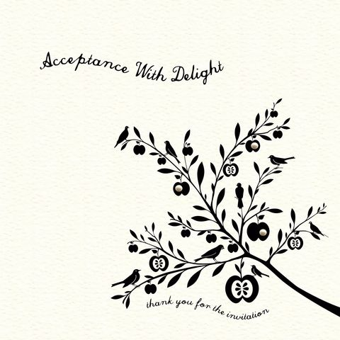 Acceptance,With,Delight,Card,buy acceptance cards online, cards for acceptance, wedding acceptance cards, thank you for the invitation card, bird acceptance card, tree acceptance card
