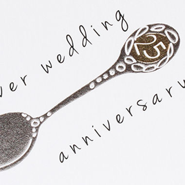 Silver Spoon 25th Wedding Anniversary Card - Karenza Paperie