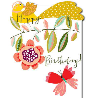 Bird Butterfly Birthday Card
