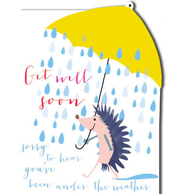 Hedgehog,&,Umbrella,Get,Well,Soon,Card,buy get well soon card online, buy cards for get well soon, feel better soon card, speedy recovery card, under the weather feel better soon cards, hedgehog get well soon cards, umbrella feel better soon cards, get well soon cards for him, feel better soon