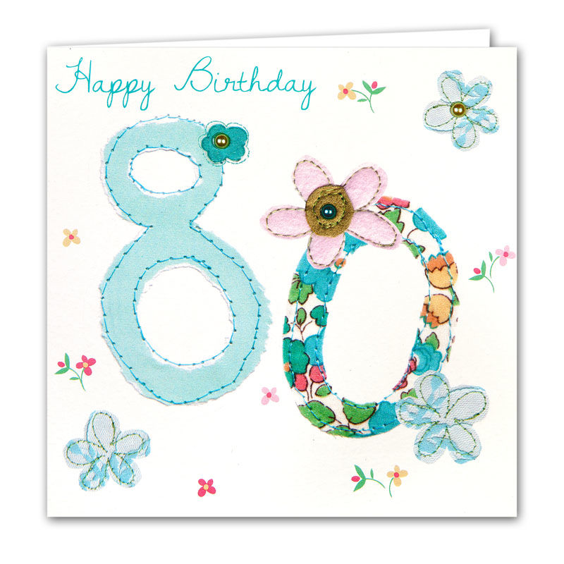 Flowers 80th Birthday Card