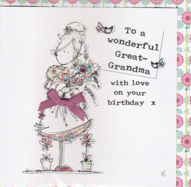 Hand Finished Great Grandma Birthday Card Karenza Paperie
