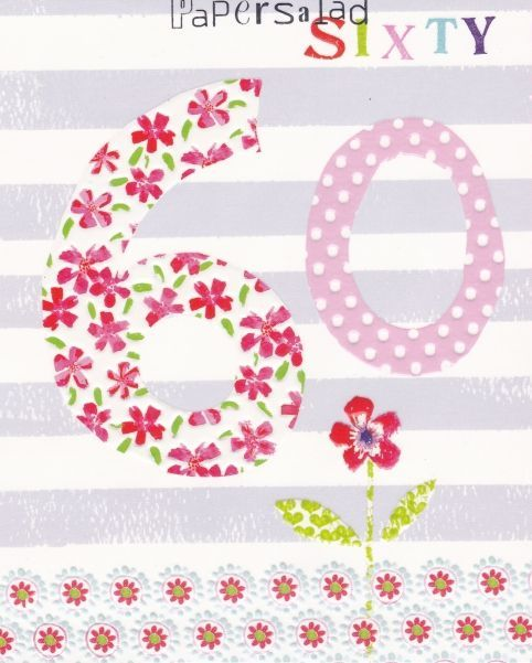 WONDERFUL COLOURFUL FLOWERS ON YOUR 60TH BIRTHDAY GREETING CARD