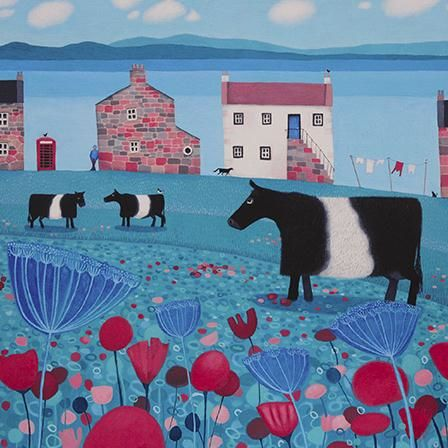 Cow,&,Cottages,Blank,Greetings,Card,buy ailsa black greetings cards online, buy animal blank greetings cards online, buy cow greetings cards online, cows greetings cards, cards with animal, cards with flowers, cards with boat, seaside greetings cards, cottage greeting card, flower greetings