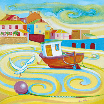 Boat,and,Seagull,Blank,Greetings,Card,buy blank greetings cards online, buy st ives card online, buy boat cards online, cards with boats, cards with yachts, yacht cards for him, seaside cards, castle cards, birthday cards for him, boat cards for him,