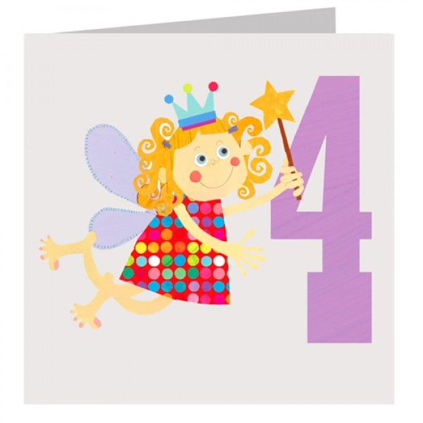 Fairy 4th birthday card karenza paperie fairy 4th birthday card product images bookmarktalkfo Image collections