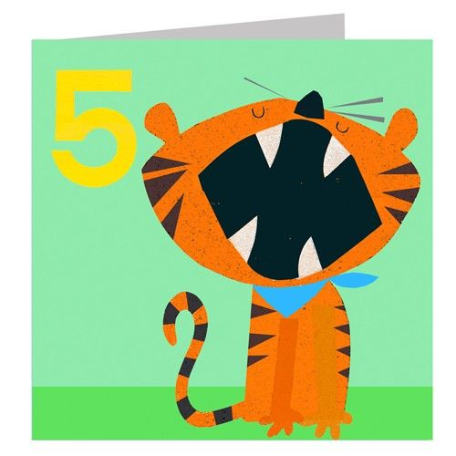 Tiger Age Five Birthday Card Karenza Paperie
