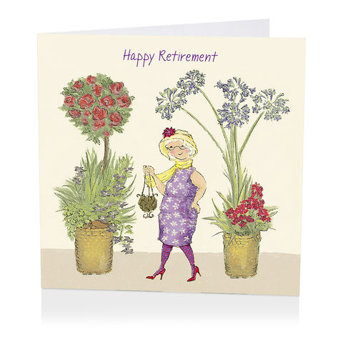 Floral,Happy,Retirement,Card,buy retirement card online, buy female retirement card online, buy cards for retirements online, flowers retirement card