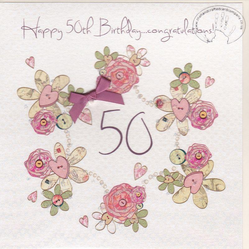 Handmade 50th Birthday Card Karenza Paperie