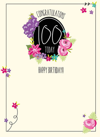 Congratulations,100,Today,Birthday,Card,buy 100th birthday card online, buy age one hundred birthday card for her online, card for one hundreth birthday, female 100th birthday card,