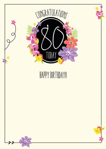 Congratulations,80,Today,Birthday,Card,buy 80th birthday cards online, eightieth birthday cards, age eighty card, age 80 cards, 80th birthday cards for her online, female age eighty birthday card, floral 8oth birthday card