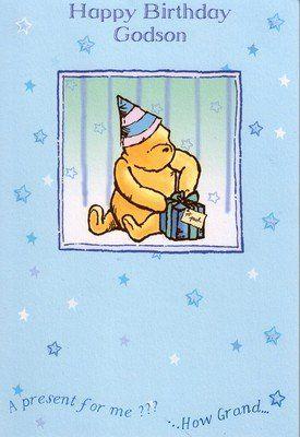 Winnie The Pooh Godson Birthday Card