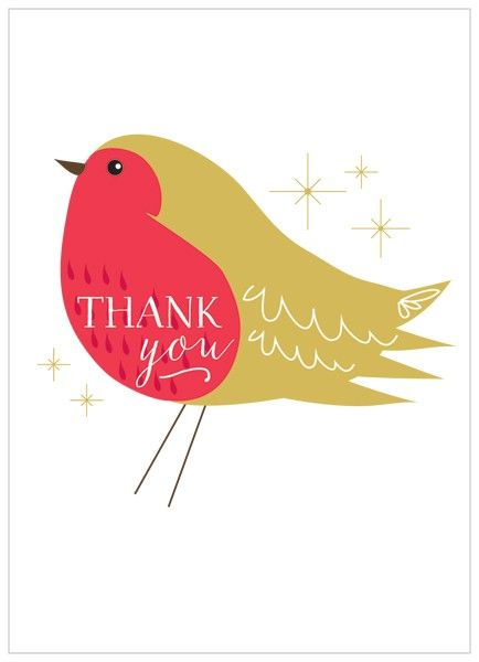 Pack Of 8 Robin Christmas Thank You Cards - Karenza Paperie