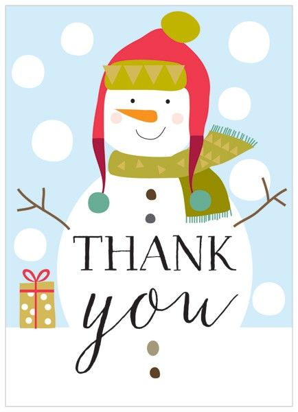 Pack Of 8 Snowman Christmas Thank You Cards - Karenza Paperie
