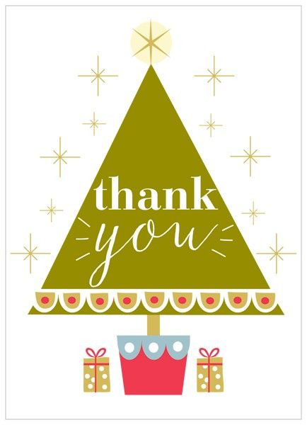 Pack Of 8 Christmas Tree Thank You Cards - Karenza Paperie