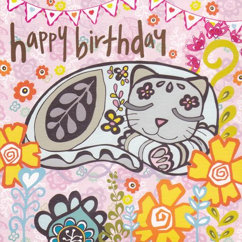 Cat,&,Flowers,Birthday,Card,buy cat birthday cards online, buy cat birthday cards for her online, cat birthday cards for her, cat friend birthday card, purple cat birthday card, kittens birthday card,