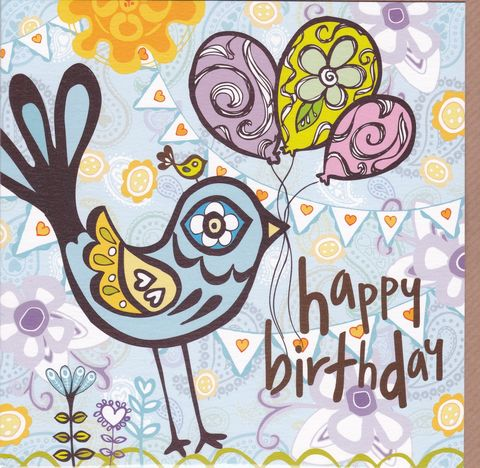 Bird,&,Balloons,Birthday,Card,buy female birthday cards online, buy birthday cards for her online, buy bird birthday card online, buy balloons birthday cards, girls bird birthday card