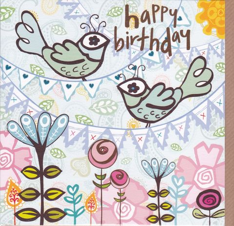 Blue,Birds,&,Bunting,Birthday,Card,buy female birthday cards online, buy birthday cards for her online, buy bird birthday card online, buy balloons birthday cards, girls bird birthday card