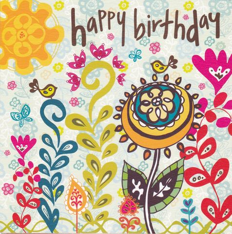Birds,&,Flowers,Birthday,Card,buy female birthday cards online, buy birthday cards for her online, buy bird birthday card online, buy balloons birthday cards, girls bird birthday card