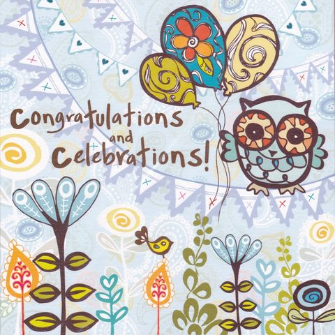 Congratulations,&,Celebrations,Card,buy congratulations cards online, buy well done cards online, buy congrats cards online, congratulations cards with owl, owl congrats card, celebrations card