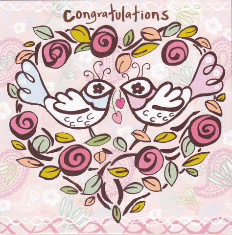 Birds,&,Heart,Congratulations,Card,buy congratulations cards online, buy well done cards online, buy congrats cards online, congratulations cards with birds, heart congratulations card, engagement card, wedding card, anniversary card, baby news card, pregnancy card