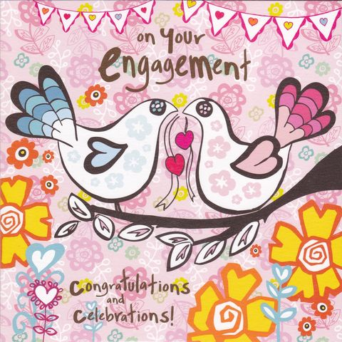 Congratulations,&,Celebrations,On,Your,Engagement,Card,buy engagement cards online, buy cards for engagement online, you are engaged card, engagement cards, you're engaged card, cards for engagements, birds engagement card, hearts engagement card, congratulations and celebrations engagement card