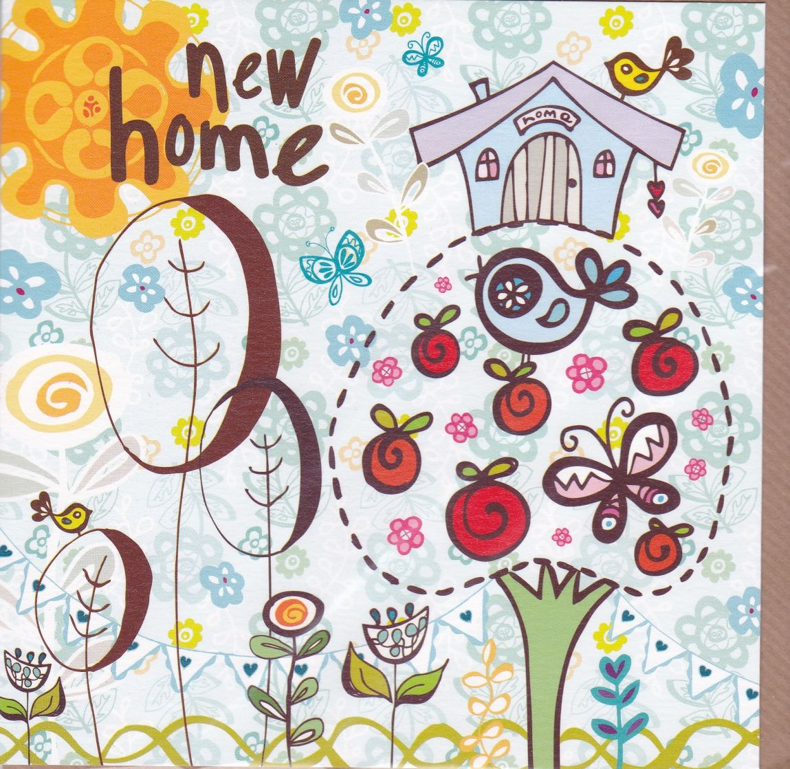 Apple Tree   Birds New Home Card. New Home Cards Collection   Karenza Paperie