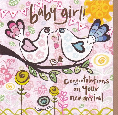 Congratulations,On,Your,New,Arrival,-,Baby,Girl,Card,buy new baby cards online, buy new baby girl cards online, cards for new baby, new baby card, card for new baby girl, bird new baby card, baby cards with birds, congratulations on your new arrival card