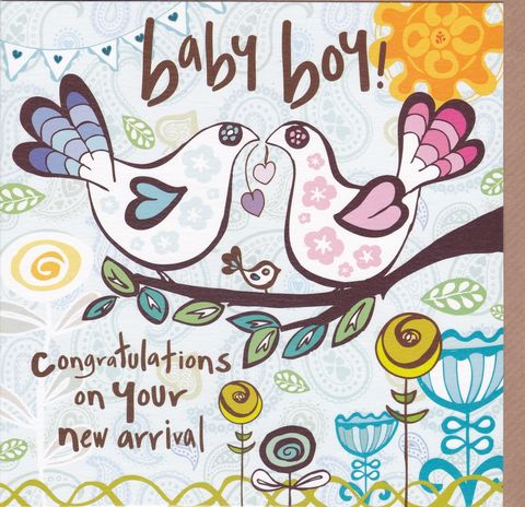 Congratulations,On,Your,New,Arrival,-,Baby,Boy,Card,buy new baby cards online, buy new baby boy cards online, cards for new baby, new baby card, card for new baby boy, bird new baby card, baby cards with birds, congratulations on your new arrival card