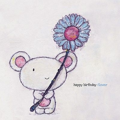 Mouse Flower Birthday Card Karenza Paperie