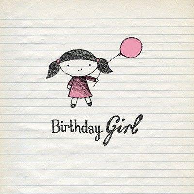 Girl Balloon Birthday Card