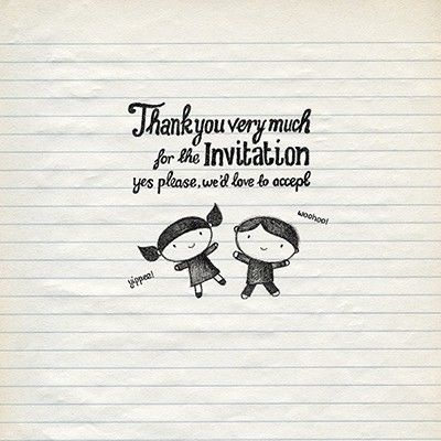 Thank You Very Much For The Invitation Acceptance Card