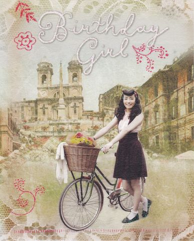 Lady,&,Bicycle,Birthday,Girl,Card,buy birthday girl birthday cards online, buy cards for the birthday girl online, birthday cards for her, female birthday cards, girls birthday card