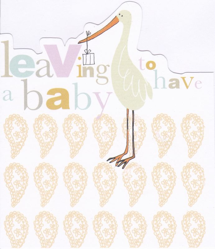 Stork Leaving To Have A Baby Card Karenza Paperie