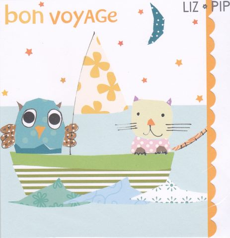 Owl,&,Cat,Bon,Voyage,Card,buy sorry you are leaving card online, buy bon voyage card online, buy cards for bon voyage, bird leaving card, owl leaving card, cat leaving card