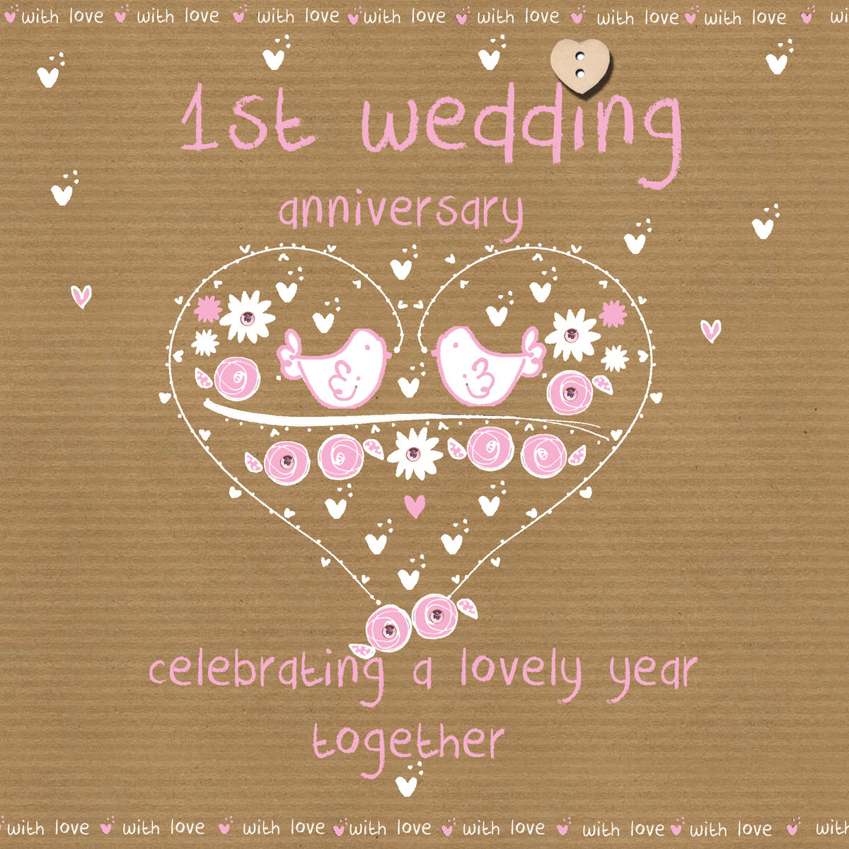 first wedding anniversary card karenza paperie