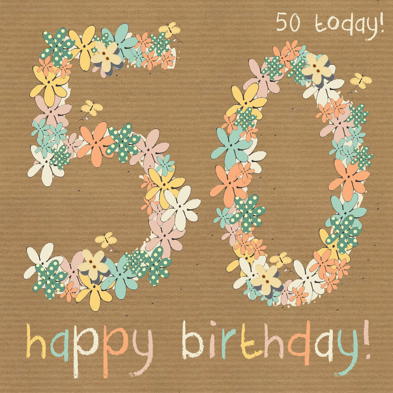 Floral 50th happy birthday card karenza paperie floral 50th happy birthday card product images of bookmarktalkfo Choice Image