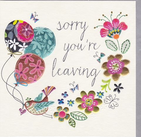Bird,&,Balloons,Sorry,You,Are,Leaving,Card,buy sorry you are leaving card online, bon voyage card, bird leaving card, sorry you are leaving card for her, female leaving card with flowers, floral leaving card, butterfly leaving card