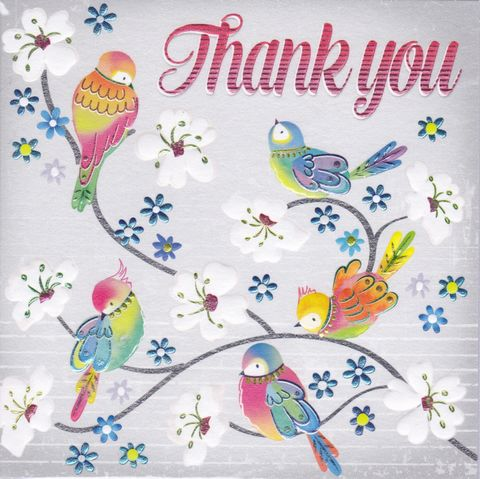 Birds,&,Blossom,Thank,You,Card,buy thank you cards online, buy cards for thank you online, bird thank you cards, thank you cards with birds, thank you so much card,