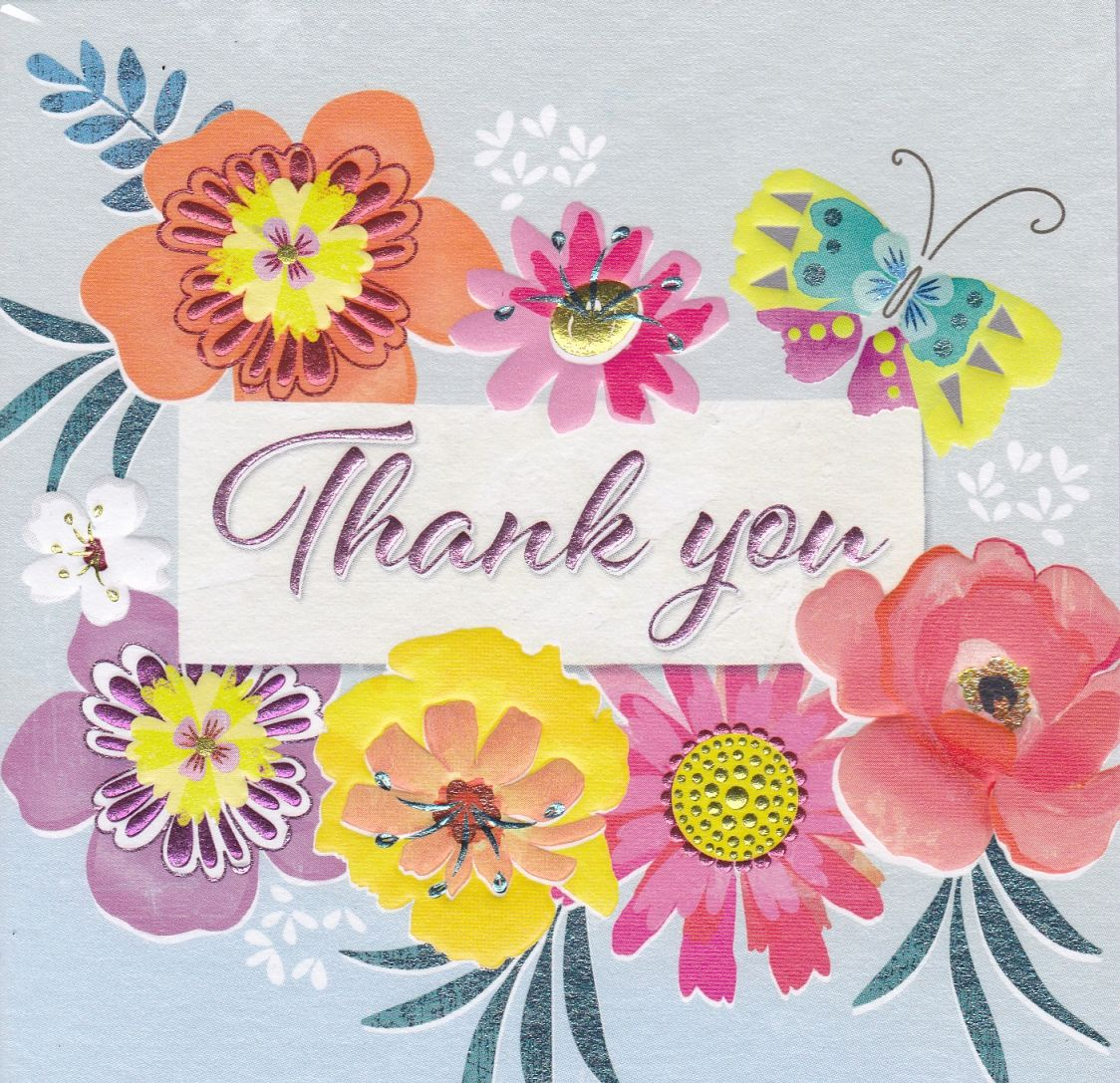 Flowers & Butterfly Thank You Card - Karenza Paperie