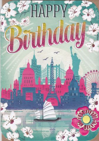 Boat,&,Landmarks,Birthday,Card,buy female birthday cards online, buy birthday cards for her online, buy landmarks birthday card online, buy retro birthday cards online, statue of liberty birthday card, eiffel tower birthday card, london birthday card, new york card, paris, card,