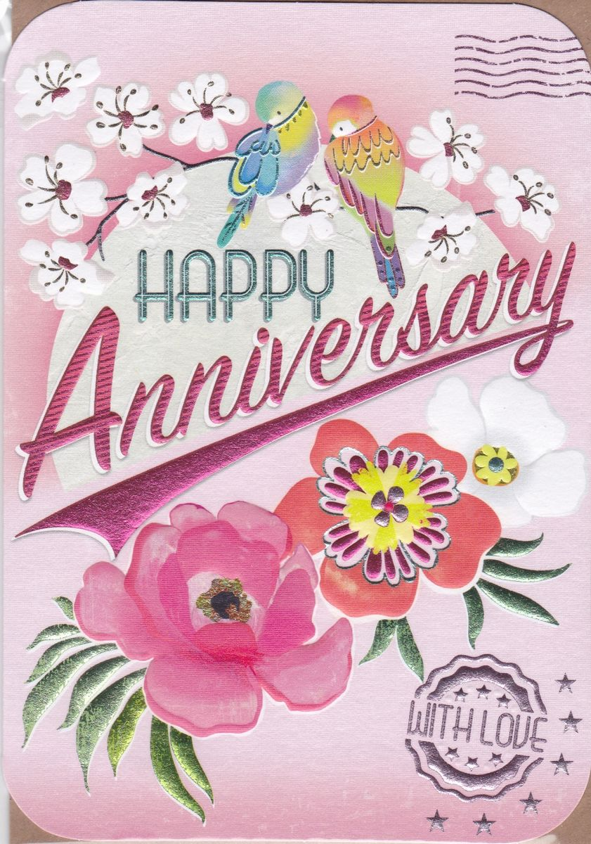 Birds flowers happy anniversary card karenza paperie