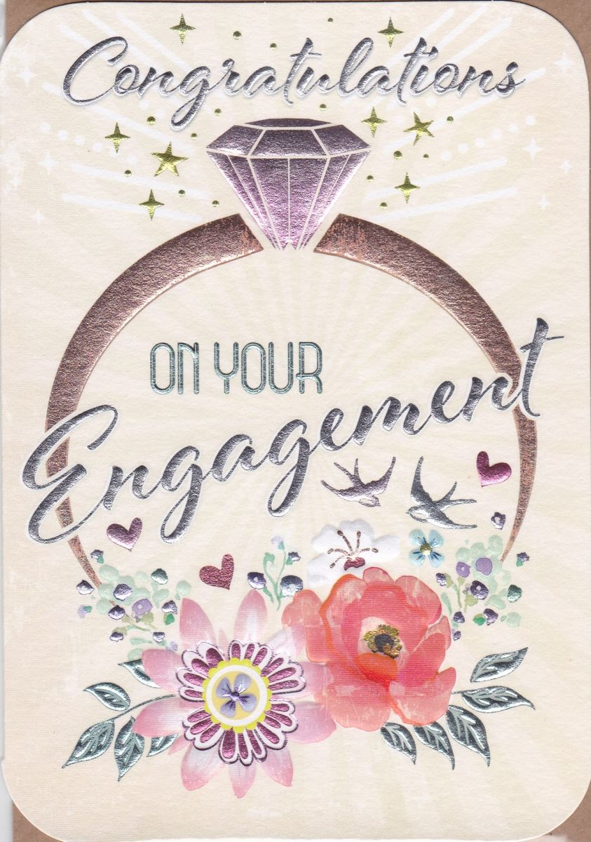 Engagement Ring & Flowers On Your Engagement Card - Karenza Paperie