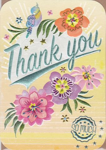 Bird,&,Flowers,Thank,You,So,Much,Card,buy thank you cards online, buy cards for thank you online, bird thank you cards, thank you cards with birds, thank you so much card