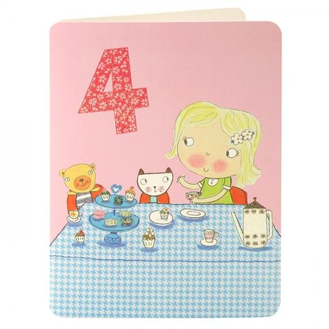 Girl,&,Tea,Party,Age,4,Birthday,Card,buy 4th birthday card online, buy little girls age 4 birthday card online, tea party birthday card for girls, girls 4th birthday card, pretty pink birthday cards for girls, age four birthday card, age 4 card, buy birthday cards for children online, buy gi