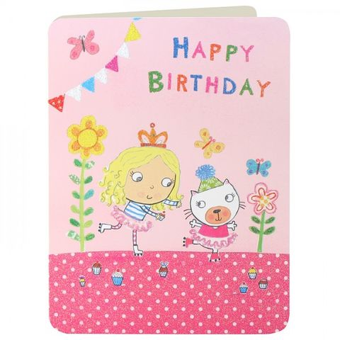 Girl,and,Cat,Rollerskating,Girls,Birthday,Card,buy birthday cards for children online, buy girls birthday card online, buy birthday cards for girls online, pretty pink birthday card for little girl, roller skates birthday card, rollerskating birthday cards for children