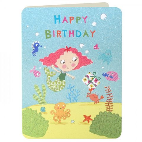 Mermaid,&,Fish,Girls,Birthday,Card,buy birthday cards for children online, buy girls birthday card online, buy birthday cards for girls online, pretty pink birthday card for little girl, buy mermaid birthday cards online, birthday card with mermaid, fish birthday card, sea animals birthday