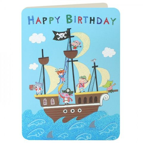 Pirates,&,Pirate,Ship,Boys,Birthday,Card,buy birthday cards for children online, buy boys birthday card online, buy birthday cards for boys online, boys birthday cards with pirates, pirate ship birthday card, shipmates pirate birthday card, childs birthday card, birthday cards for kids, jolly ro